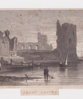 Antique Engraving Print, Flint Castel, 1830