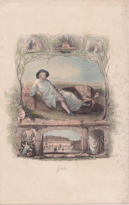 Antique Engraving Print, Goethe, 1860 ca.