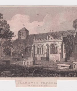 Antiche Engraving Print, Llanrwst Church, 1830