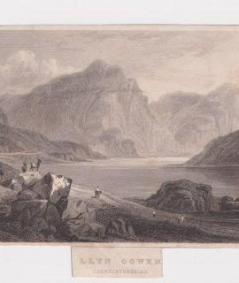 Antique Engraving Print, LLYN Tegid or Bala Lake, Merionetshire, 1830