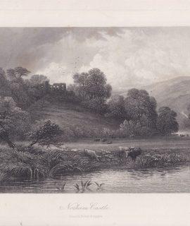 Antique Engraving Print, Norham Castle, 1875