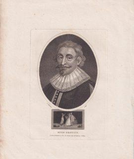 Antique Engraving Print, Hugo Grotius, 1806