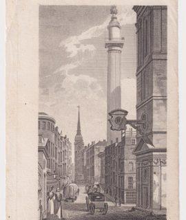 Antique Engraving Print, Fish Street Hill, 1807