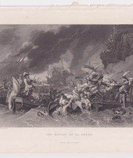 Antique Engraving Print, The Battle of La Hogue, 1820