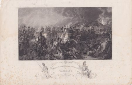 Antique Engraving Print, Decisive Charge of the Life Guards at Waterloo, 1840