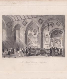 Antique Engraving Print, All Saints Church, Kingston, 1840 ca.