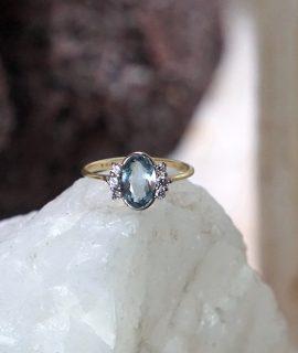 Vintage Original Ring Deco Natural Aquamarine and Diamonds, White and Yellow Gold 18 K