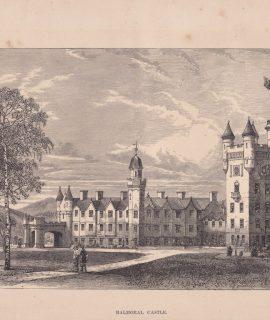 Antique Print, Balmoral Castle, 1860 ca.