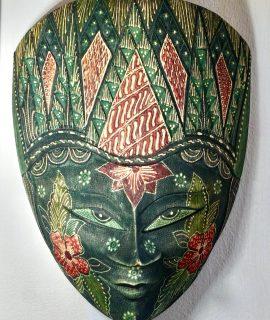 Vintage Handmade Wood Batik Panji Kelana Mask