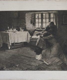 Antique Engraving Print, A Hopeless Dawn, 1890