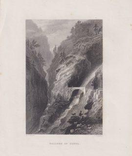 Antique Engraving Print, Gallery of Gondo, 1840