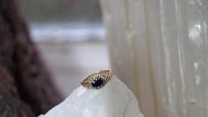 Antique Sapphire Ring with diamonds, 9ct.
