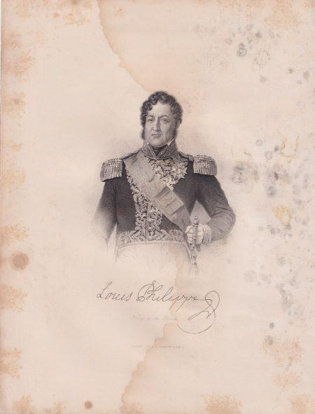 Antique Engraving Print, Louis Philippe, 1840