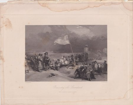 Antique Engraving Print, Raising the Standard, 1836 ca.