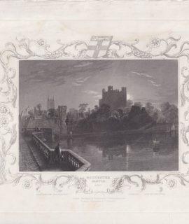 Antique Engraving Print, Rochester Castle , Kent, 1833