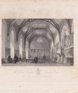 Antique Engraving print, The Guard Chamber, Lambeth Palace, 1840 ca.