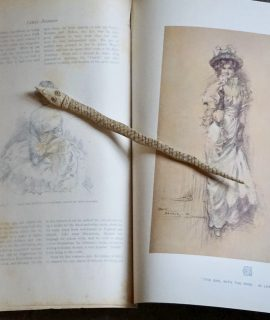 Vintage Print, In Pensive Moo; the Girl with the Rose by Lewis Baumer, 1903