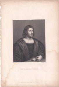 Antique Engraving Print, Giovanni Boccaccio, 1840