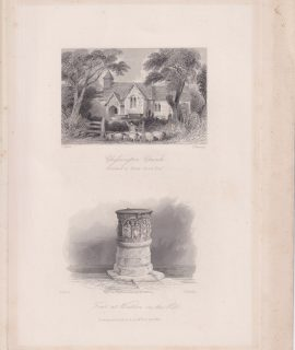 Antique Engraving Print, Chessington Church; Font at Watton on the Hill, 1845