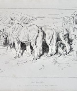 Antique Print, The Stable, 1876