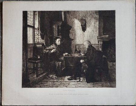 Antique Engraved Print, Checkmate, etched by E. Mardsen, 1880