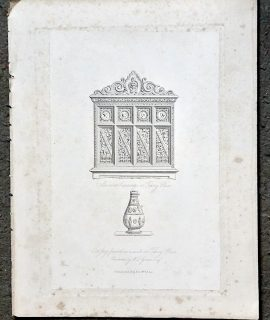 Antique Engraving Print, Old Jug found in a well at Tilsey place; Ancient Carving, 1830