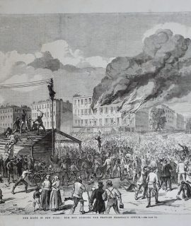 Antique Print, The Riots in New York: The Mob Burning The Provost Marshal's Office, 1863