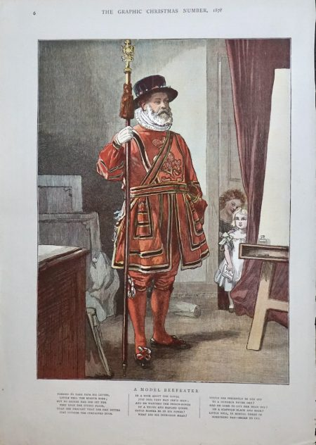 Antique Print, A Model Beefeater, 1878