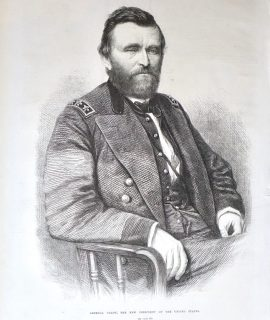 Antique Print, General Grant, The New President of the United States, 1869