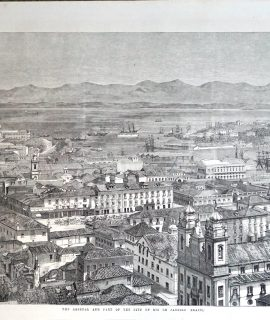 Antique Print, The Arsenal and Part of the City of Rio de Janeiro, Brazil, 1800