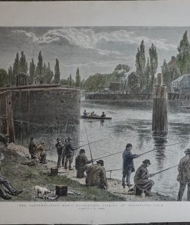 Antique Print, The Contemplative Man's Recreation Fishing at Teddington Lock, 1892