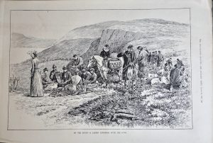 Antique Print, In the Moors, A Ladies Luncheon With the Guns, 1889