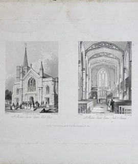 Antique Engraving Print, St. Martin's Church, 1841