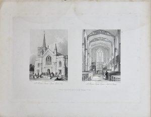 Antique Engraving Print, St. Martin's Church, 1841