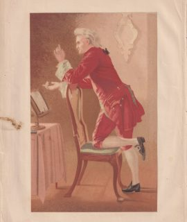 Antique Print, The music master, by F. Smallfield, 1868