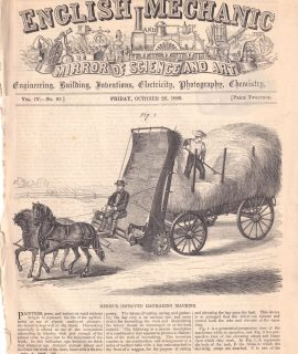 Antique Engraving Print, Henry's Improved Haymaking Machine, 1866