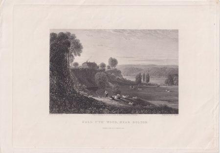 Antique Engraving Print, Hall I' TH' Wood, near Bolton, 1845