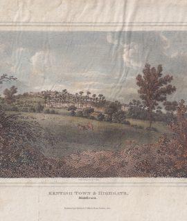 Antique Engraving Print, Kentish Town & Highgate, Middlesex, 1820