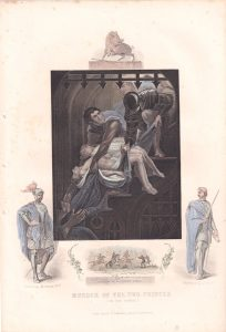 Antique Engraving Print, Murder of the two Princes, 1853