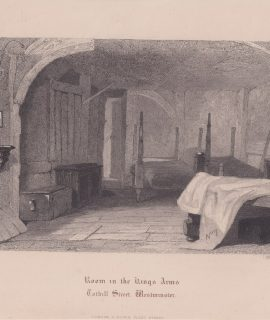 Rare Antique Engraving Print, Room in the Rings Arms, Westminster, 1860 ca.