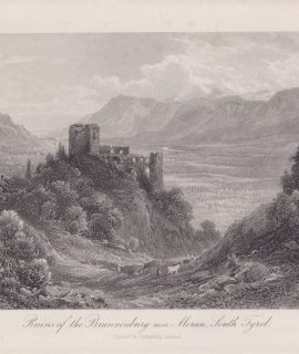 Antique Engraving Print, Ruins of the Brunnenburg near Meran, South Tyrol, 1870