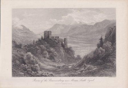 Antique Engraving Print, Ruins of the Brunnenburg near Meran, South Tyrol, 1870