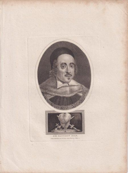 Antique Engraving Print, Sir Matthew Hale, 1808