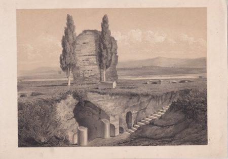 Antique Engraving Print, Ruins, 1870
