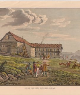 Antique Engraving Print, The Old Kulm Hotel on the Rigi Mountain, 1890