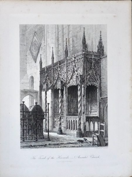 Antique Engraving Print, The Tomb of the Howards Arundel Church, 1876