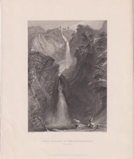 Antique Engraving Print, Upper Cascade of the Reichenbach, 1834