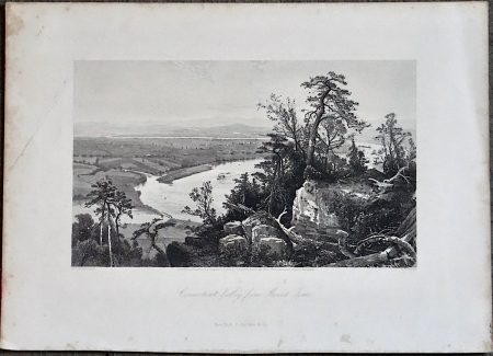 Antique Engraving Print, Connecticut Valley from Mount Tom, 1876