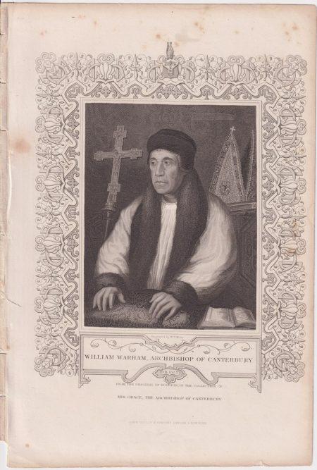 Antique Engraving Print, William Warham, Archbishop of Canterbury, 1833