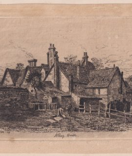 Antique Rare Original Engraving Print, Abbey House, signed by R. Furron 1880